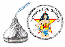 216 WONDER WOMAN BIRTHDAY PARTY FAVORS HERSHEY KISS KISSES LABELS