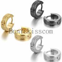 Men's Women's Charm Frosted Stainless Steel Huggie Hinged Hoop Earrings Gift