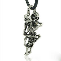 1× Herren Tibetan Silber Edelstahl Schädel Halskette Kette Anhänger Schmuck