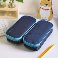 School Boy Pencil Case & Bags Solid Color Large Capacity Canvas Box Pen K8A9