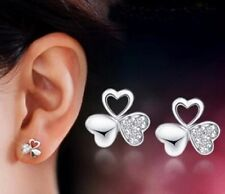 18k white gold GP Lucky clover AAA zircon CZ zircons earrings studs E5a
