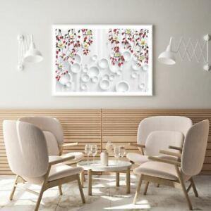 Colorful Flowers 3D Circle Design Print Premium Poster High Quality choose sizes