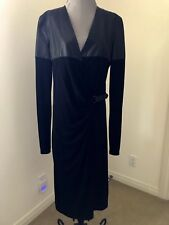 Jean Paul Gaultier Black Wrap Leather Knit Coat Dress Us Size 12 $4400