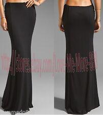 NEW Womens Summer Party Club Casual Sun Beach Long Maxi SKIRTS Dress BLACK Small