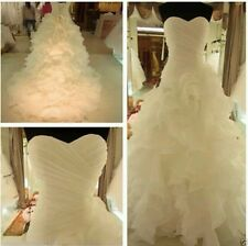 New Organza white/ivory wedding dress Bridal Gown Size 6-16 UK
