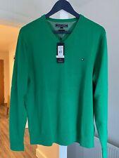 Tommy Hilfiger V-Neck Mens Jumper - Knitwear - Bright Green - Brand New / Tags