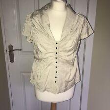 Silk & Sawdust Beige Polka Dot Ruched Silk Mix Vintage Style Blouse Top M BNWOT