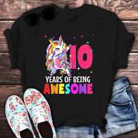 10th Birthday Years Of Being Awesome Unicorn Youth Girl T Shirt Cotton Black