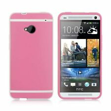 For HTC One M7 Rubber Case Cover Hot Pink/White