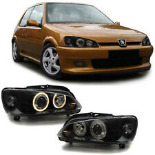 Black clear finish headlights with angel eyes for Peugeot 106 from 96