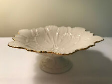 Lenox Arbor Collection Footed Pedestal 6-Sided Candy Dish Compote 14K Gold Trim