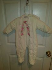 First Impressions Pink & White Baby Bunting Snowsuit Outerwear Girl 3 6 mo