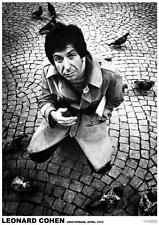 "Leonard Cohen - Amsterdam, 1972 -   33"" x 24""  B&W POSTER"