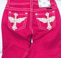 Miss Me Fuchsia Capris Hot Pink Dark Vibrant Lovely Pants Jeans Sz 25