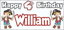 Boy Pirate 4th Birthday Banner x 2 - Party Decorations - Personalised ANY NAME