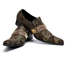 Men Stage Metal Pointy Toe Leather Nightclub Floral Formal Punk Party Shoes Heel