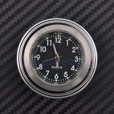"""7/8"""" 1"""" Motorcycle Chrome Waterproof Black Dial Handlebar Clock Glow TIme Watch"""