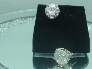 LARGE STERLING SILVER ZIRCONIA DIAMOND STUDS