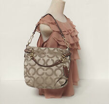 COACH 14147 Khaki and Brown Op Art Brooke Sateen Hobo 2/way Convertible Purse