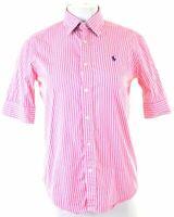POLO GOLF RALPH LAUREN Womens Shirt Short Sleeve US 4 Small Pink Striped Cotton