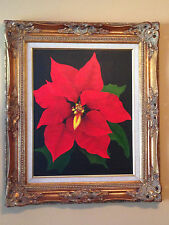 "16""x20"" Original Oil-Acrylic On Canvas Poinsettia Flower Christmas With Frame."