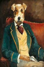 "WIRE FOX TERRIER LAKELAND WELSH DRESSED DOG COMIC ART PRINT ""Edgar Allan Paw"""
