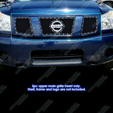 Fits 2004-2007 Nissan Armada/Titan Stainless Black Mesh Rivet Grille