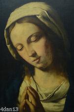 RARE TABLEAU ANCIEN RELIGIEUX SASSOFERATTO PORTRAIT DE SAINTE VIERGE MADONNE