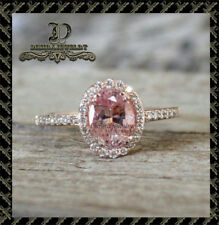 2Ct Oval-Cut Pink Moissanite Diamond Halo Engagement Ring 10K Rose Gold