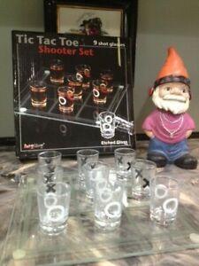 TIC TAC TOE 9 SHOT GLASSES SHOOTER SET DRINKING GAME