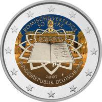 2 Euro Gedenkmünze BRD 2007 Römische Verträge coloriert Farbe / Farbmünze / RV