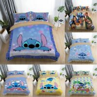 Kids Stitch Anime Bedding Set Duvet Cover Pillowcase Comforter/Quilt Cover Xmas