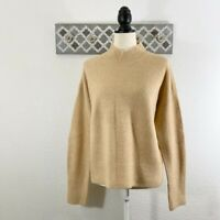NWT M Magaschoni Mock Neck Sweater $108 Beige Wool Blend, Size M