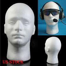 Male Styrofoam Foam Mannequin Manikin Head Model Wigs Glasses Hat Display White