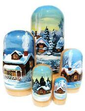 White Christmas Russian Matryoshka 5-Piece Nesting Dolls Stacking Toy Wooden Set