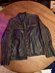 Black Rivet GIII Brown Leather Striped Cafe Motorcycle Jacket size L