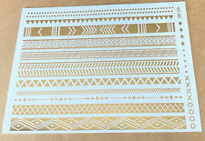 Dazzle Long golden retro pattern Temporary Metallic Tattoo Gold Silver Flash