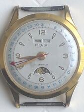 Pierce mechanical Full Triple Calendar moonphase vintage  watch,