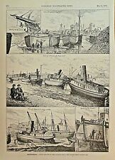 Canada Montreal, Lachine Canal Closed For Spring Repairs, 1876 Antique Art Print