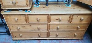 Solid Pine Low & Long Chest Of Drawers Wooden