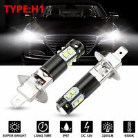2PCS H1 6500K Super White 100W 360°Beam LED Headlight Bulb Kit Fog Driving Light