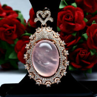 NATURAL 17 X 23 mm. PINK ROSE QUARTZ & WHITE CZ PENDANT 925 STERLING SILVER