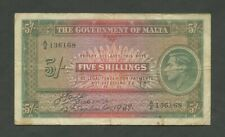 More details for malta  kgvi  5 sh  1939  wwii  krause 12  fine  banknotes