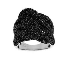 QVC 3.10 cttw Black Spinel Bold Pave' Wave Sterling Silver Ring Size 6 $112 New