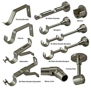 Stainless Steel Curtain Pole Brackets 19mm 28mm 35mm Recess Extendable Double