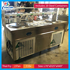 Thai Fry Ice Cream Roll Commercial Nsf 2 pan ice cream roll machine Cooler Depot