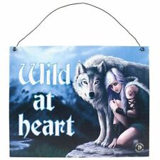 Anne Stokes Protector Wild At Heart Wolf Metal Hanging Sign 24cm