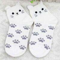 Pair Socks Cat Footprints Summer Fashion Autumn Cartoon Cotton Socks Cute