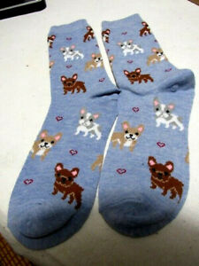 Davco Women's Socks 9-11 Puppy Dogs Blue/Brown/White/Tan Will Fit Shoes 4-10.5