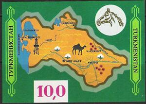 TURKMENISTAN, Sc #9, MNH, 1992, S/S, Map, Camel, Oil Rig, AR-A